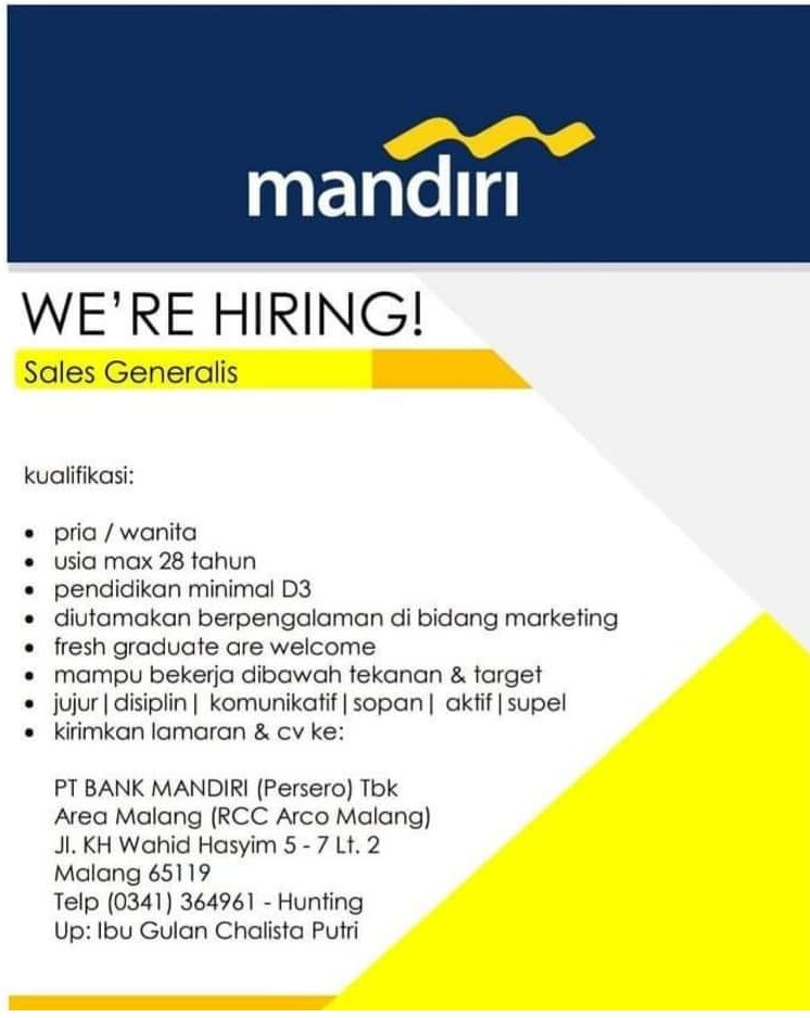 Lowongan Kerja BUMN PT BANK MANDIRI Tbk Sales Generalis Juni 2020