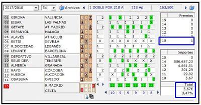 Resultados de combinacion de Quiniela de Futbol.