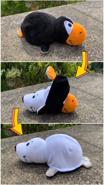 Series of 3 images showing how to turn a FlipaZoo world penguin into a seal