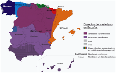 A map of Castilian dialects in Spain, with northern and southern dialects in two shades of purple, and bilingual areas marked along the borders.