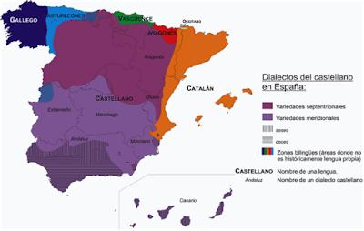 Un mapa de los dialectos castellanos en España, con los dialectos del norte y del sur en dos tonos de púrpura, y áreas bilingües marcadas a lo largo de las fronteras.