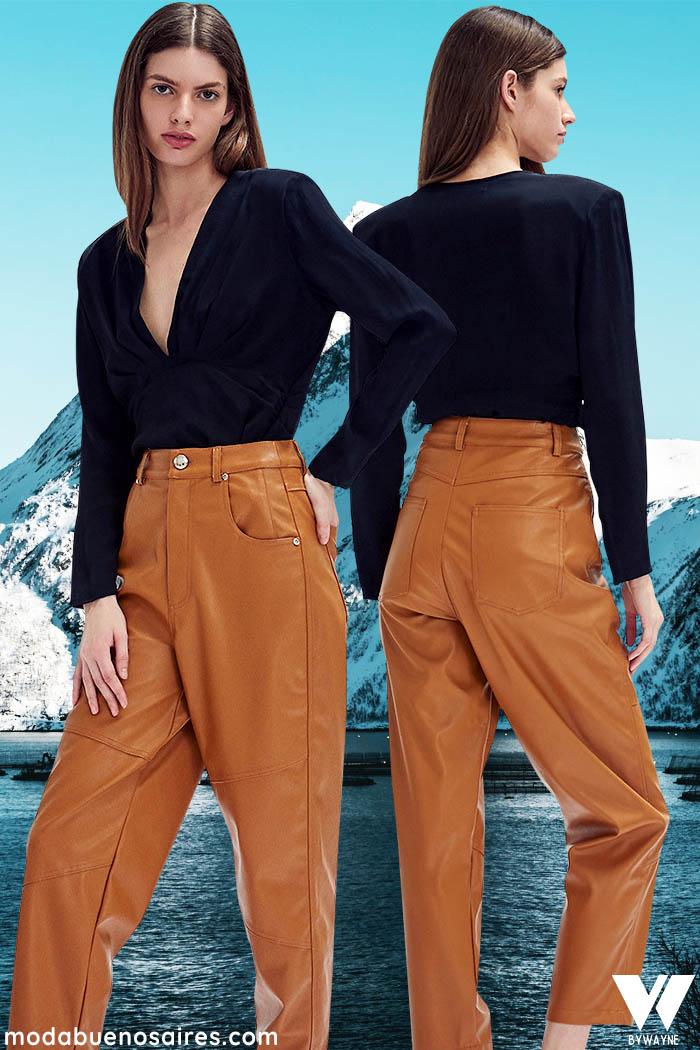 pantalones tiro alto y pinzados invierno 2021