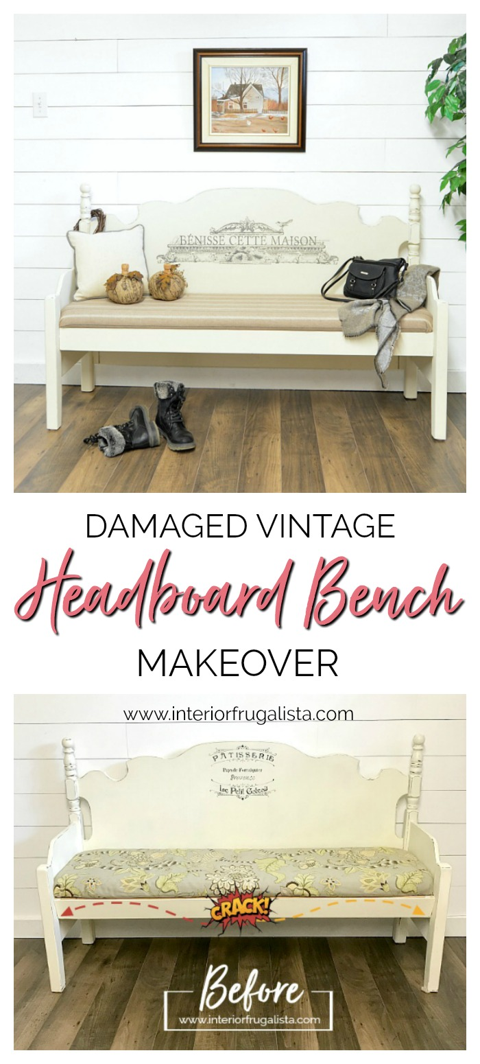 Vintage Headboard Bench Makeover With Farmhouse Charm