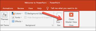 """اضغط على الزر """"إغلاق الشريحة الرئيسية"""" لتطبيق أي تغييرات قالب على العرض التقديمي."""