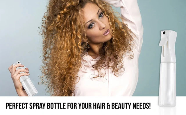 Tame frizzy hair using a spray bottle with water