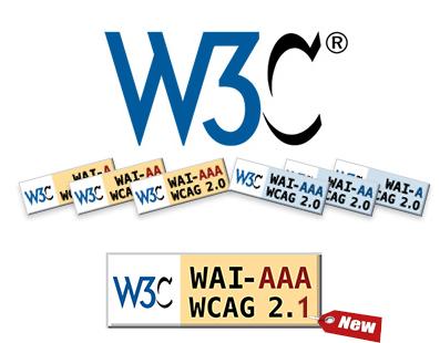 Logo del W3C y de las WCAG 2.0 modificado con el texto 2.1 y una etiqueta new