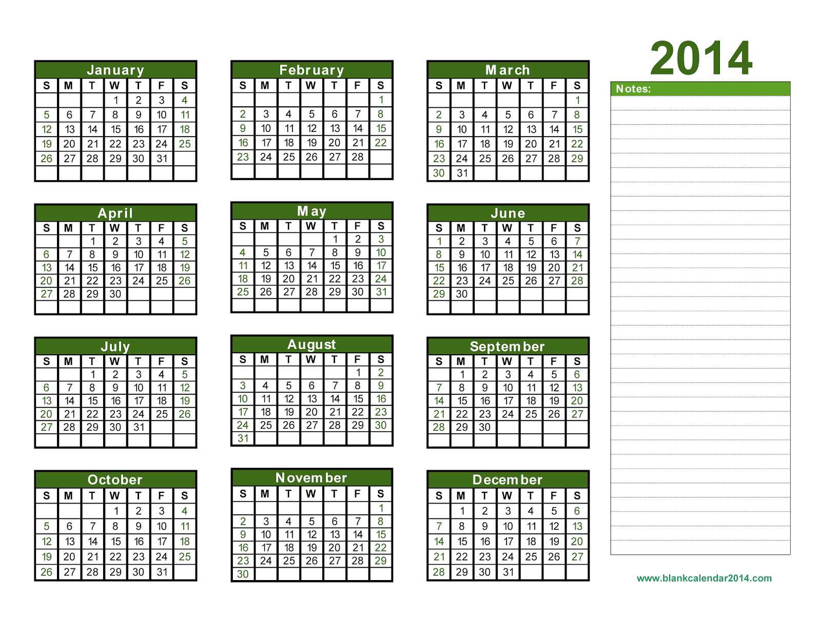 Yearly calendar 2014 printable calendar 2014 blank for Fillable calendar template 2014