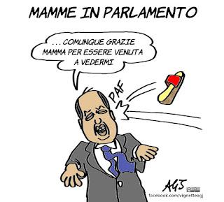 alfano, mamme in parlamento, ciabatte, mamme, vignetta, satira