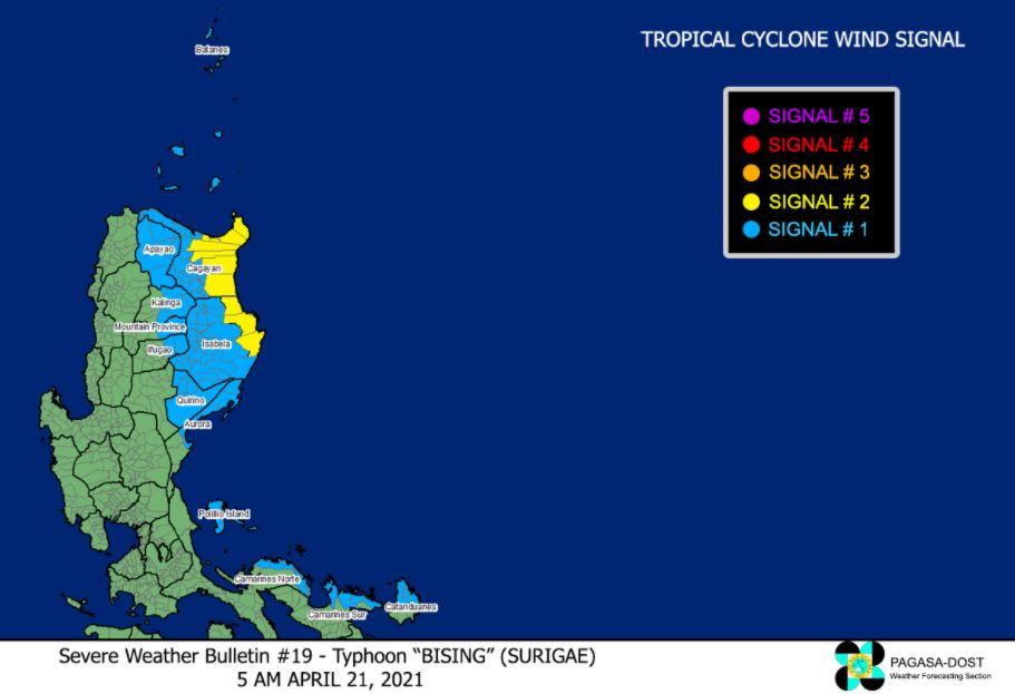 Typhoon 'Bising' signal April 21, 2021