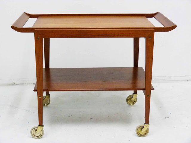 Danish Modern Teak Serving Bar Cart Tove and Edvard Kindt-Larsen Front