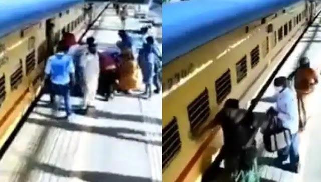 चलती ट्रेन में बुजुर्ग महिला ने की चढ़ने की कोशिश, बाल-बाल बची महिला