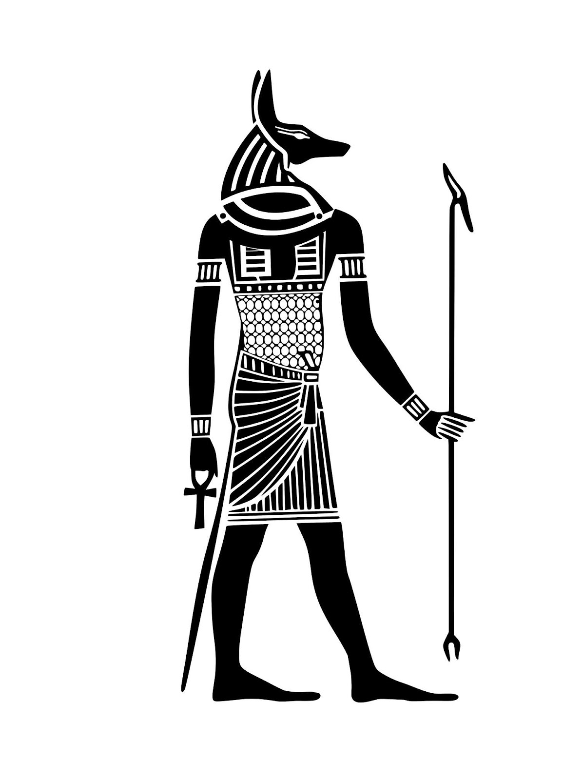 Illustration of Anubis pharaohs ancient silhouette