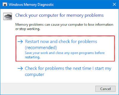 Tampilan menu windows memory diagnostik