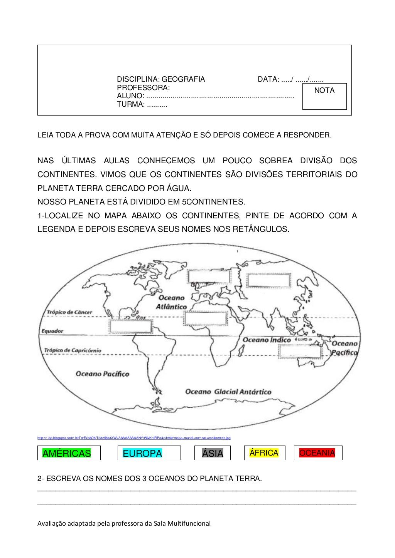 Exercícios Sobre Continentes e Oceano