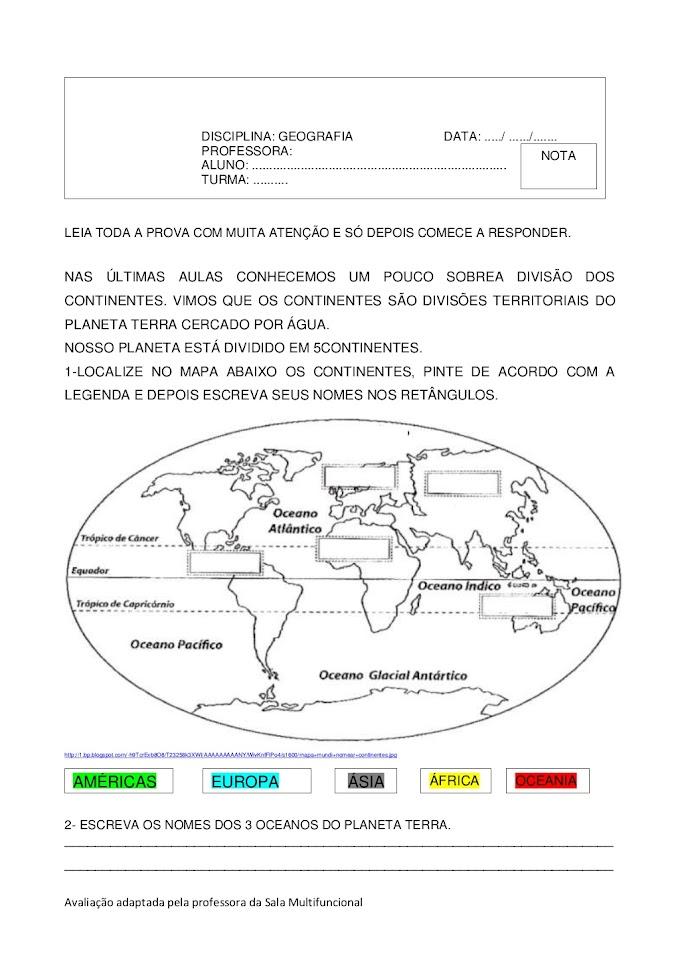 Avaliação de Geografia Sobre Continentes, Oceanos, Hemisférios e Mapas.