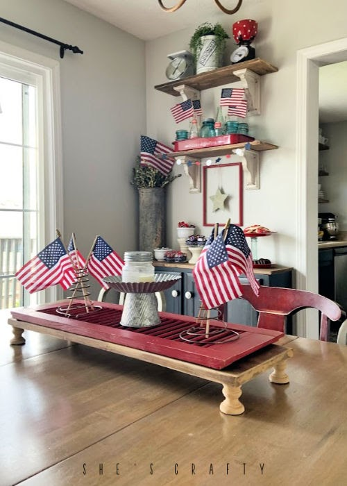 July 4th Dessert Bar - table centerpiece - red shutters