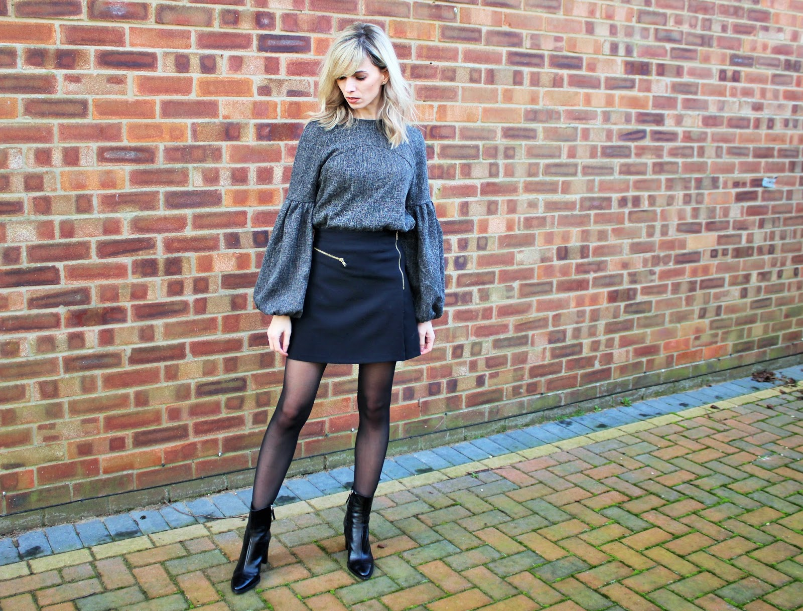 OOTD featuring Shein balloon sleeve top, Topshop A-line Skirt and Zara Ankle Boots - 6