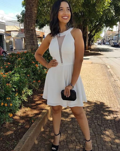 vestido branco, vestido curto, vestido de noica curto