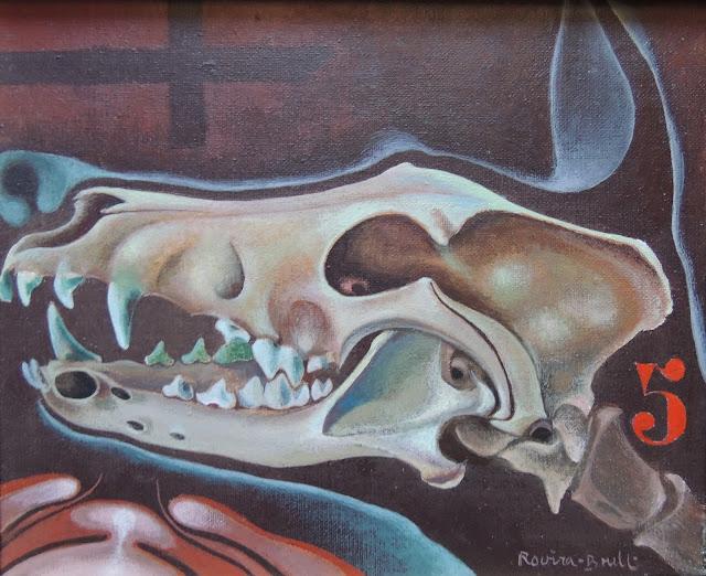 Josep Maria Rovira Brull Pintura surrealista retrato perro calavera