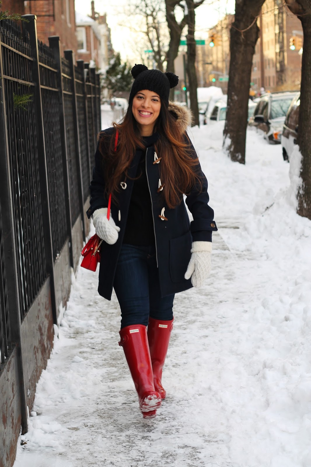 Blue City Morocco Navy Blue Toggle Coat And Red Hunter Rain Boots New