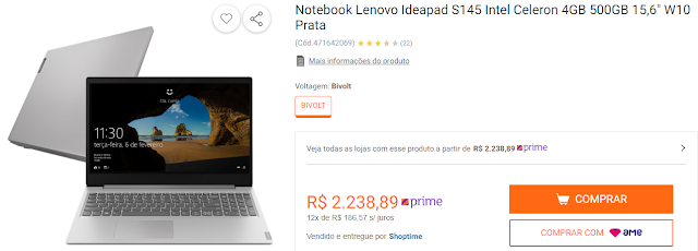 "Notebook Lenovo Ideapad S145 Intel Celeron 4GB 500GB 15,6"" W10 Prata"