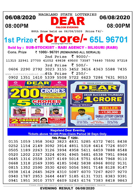 Lottery Sambad Result 06.08.2020 Dear Falcon Evening 8:00 pm