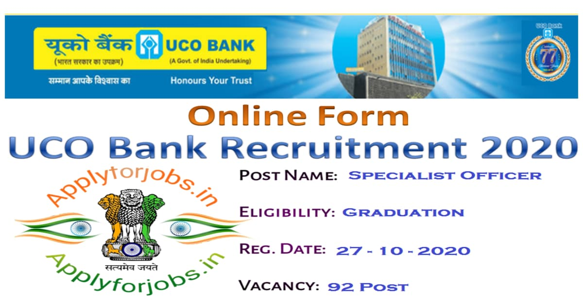 UCO Bank Recruitment 2020, applyforjobs.in