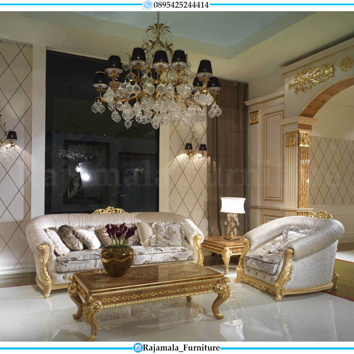 Sofa Tamu Mewah Ukir Jepara Elegant Empire Design Golden Duco RM-0741