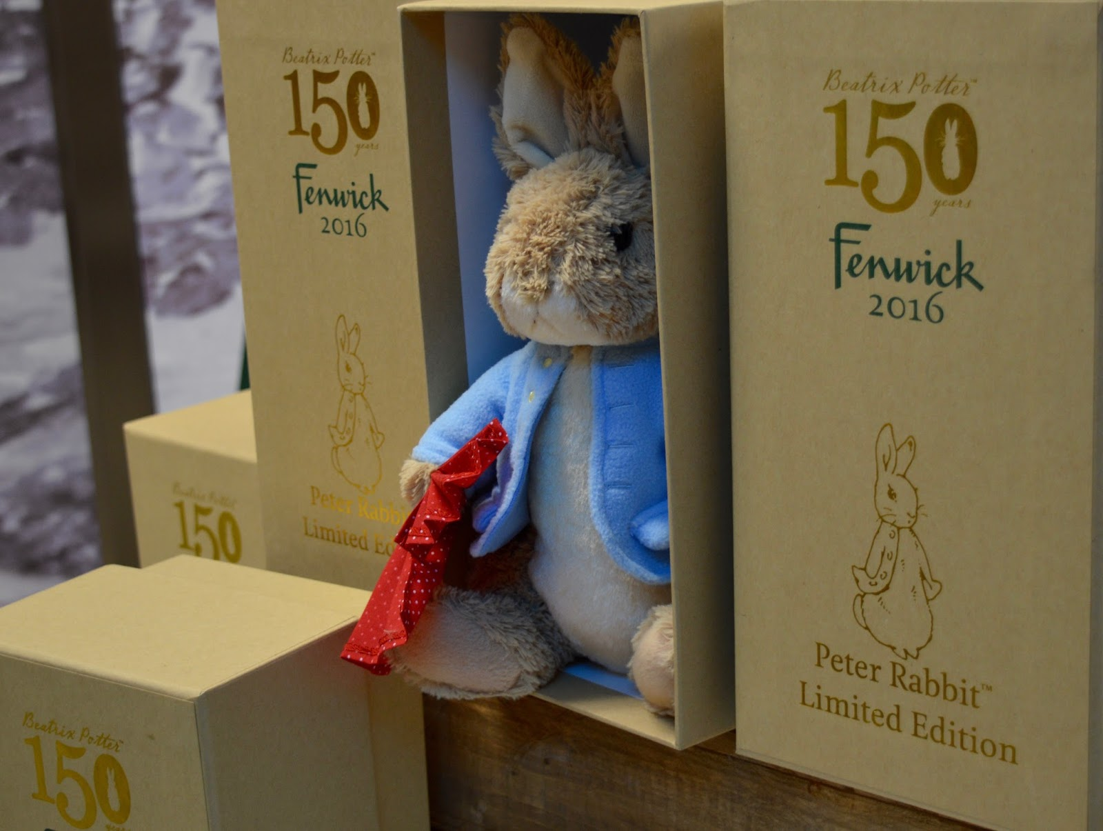 Fenwick's Window Newcastle 2016. Beatrix Potter / Peter Rabbit theme - Fenwick Christmas department level 2 - fenwick peter rabbit soft toy