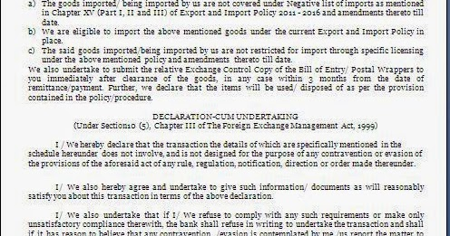 Import Declaration Letter Format For Banks