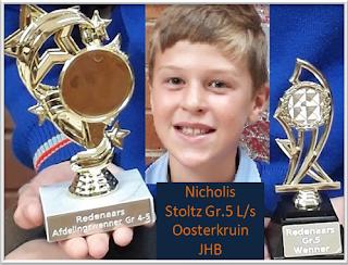 Baie geluk aan Nicholis Stoltz Gr.5, Graadwenner EN Kategorie-wenner vir 2018 by L/s Oosterkruin JHB!