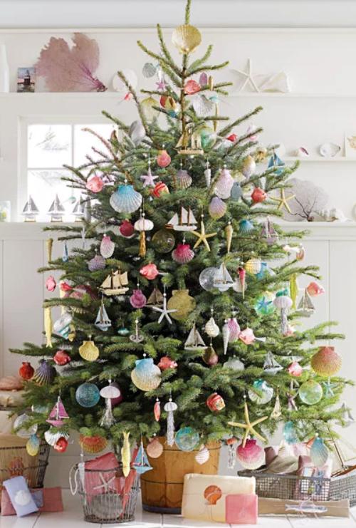 Coastal Christmas Tree with DIY glittered Ornaments by Martha Stewart