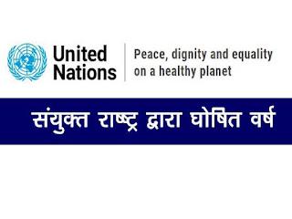 संयुक्त राष्ट्र संघ द्वारा घोषित वर्ष