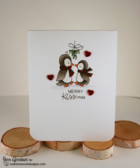 Penguin Christmas Card by Jess Crafts featuring Newton's Nook Designs Holiday Smooches