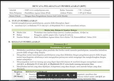 Download RPP Pendidikan Agama dan Budi Pekerti Kelas 7 Semester 1