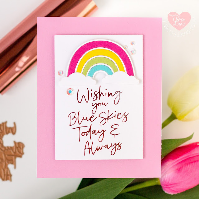 Shine Bright Rainbow Cards,Spellbinders,Glimmer Hot Foil Kit of the Month, Card Making, Stamping, Die Cutting, handmade card, ilovedoingallthingscrafty, Stamps, how to, Let Your Sentiments Shine Brighter Plates