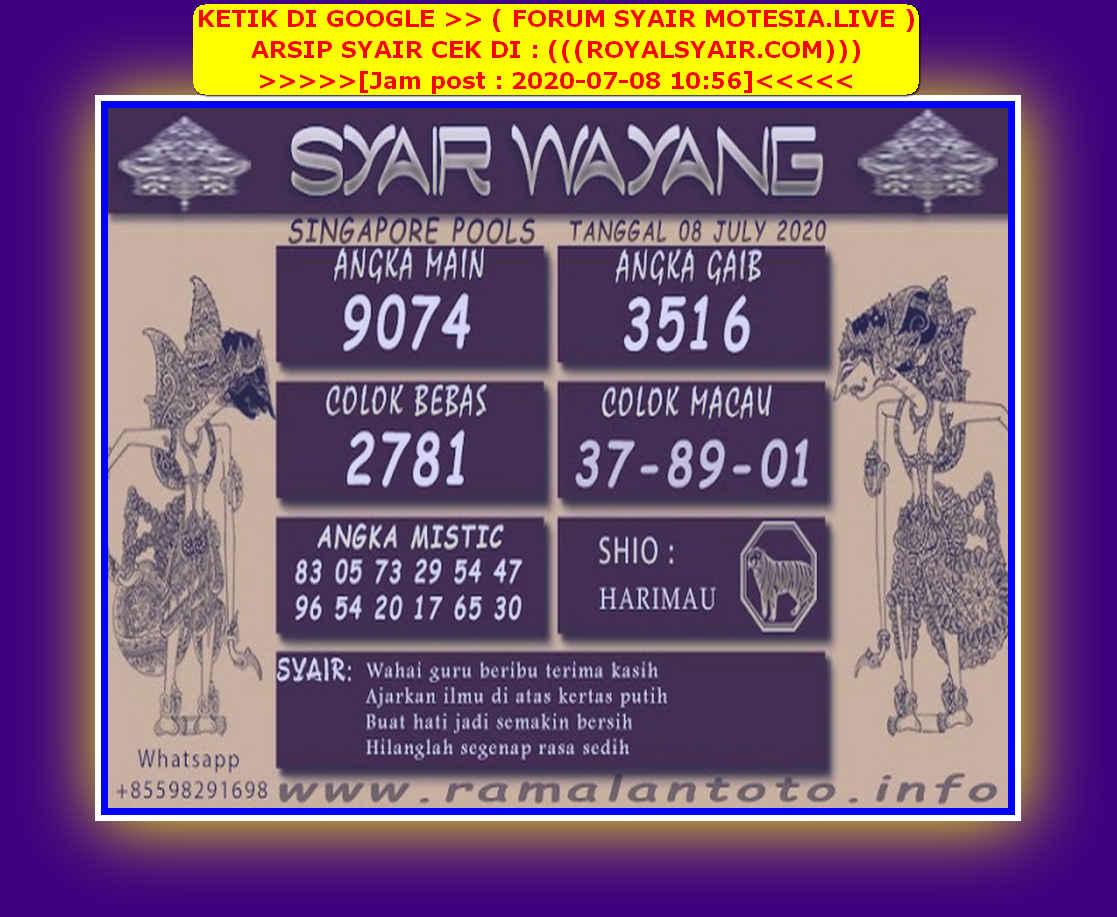 Kode syair Singapore Rabu 8 Juli 2020 95