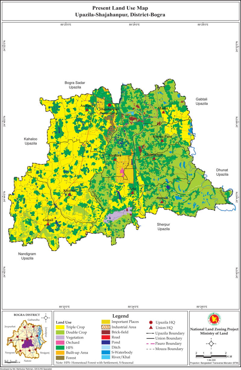 Shajahanpur Upazila Land Use Mouza Map Bogra District Bangladesh