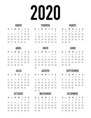 Calendario minimalista 2020 gratis para imprimir