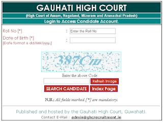Gauhati High Court Admit Card 2018 GRADE-III Assam Judicial Service Hall Ticket