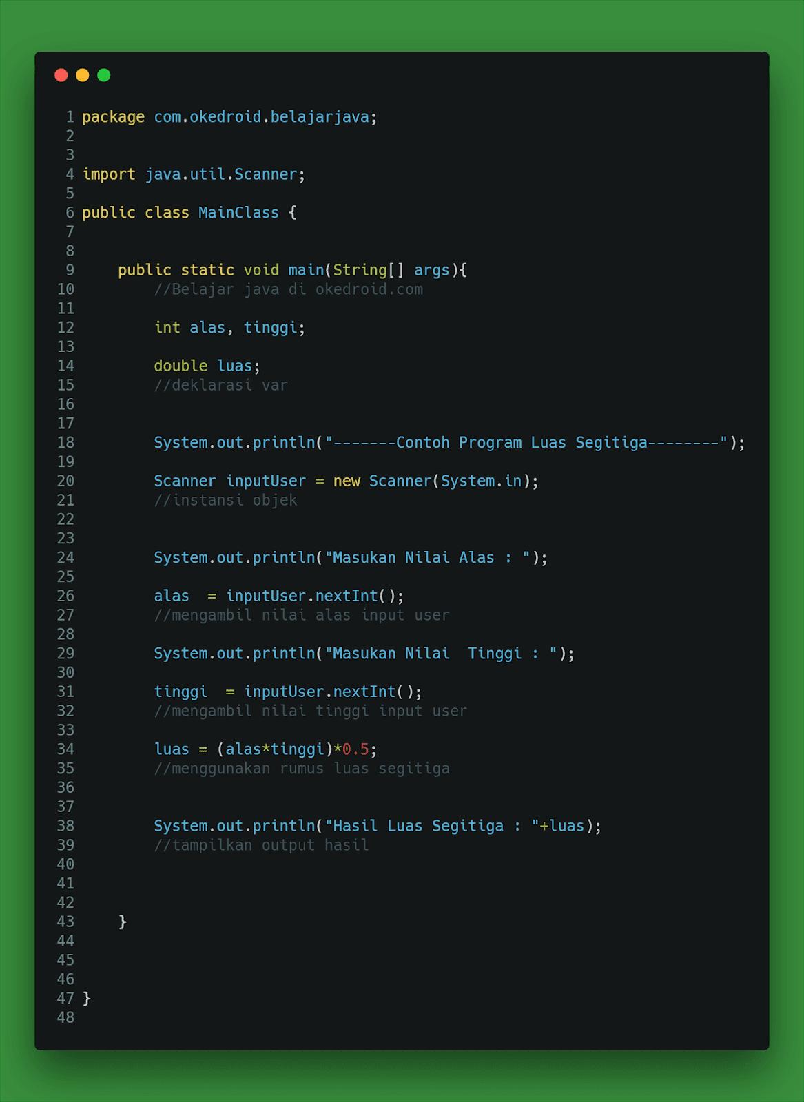 Contoh Code Program Hitung Mencari Luas Segitiga Java