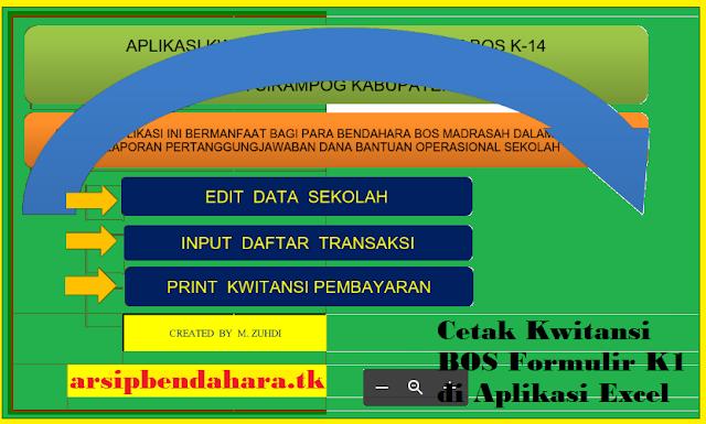 Cetak Kwitansi BOS Formulir K1 di Aplikasi Excel
