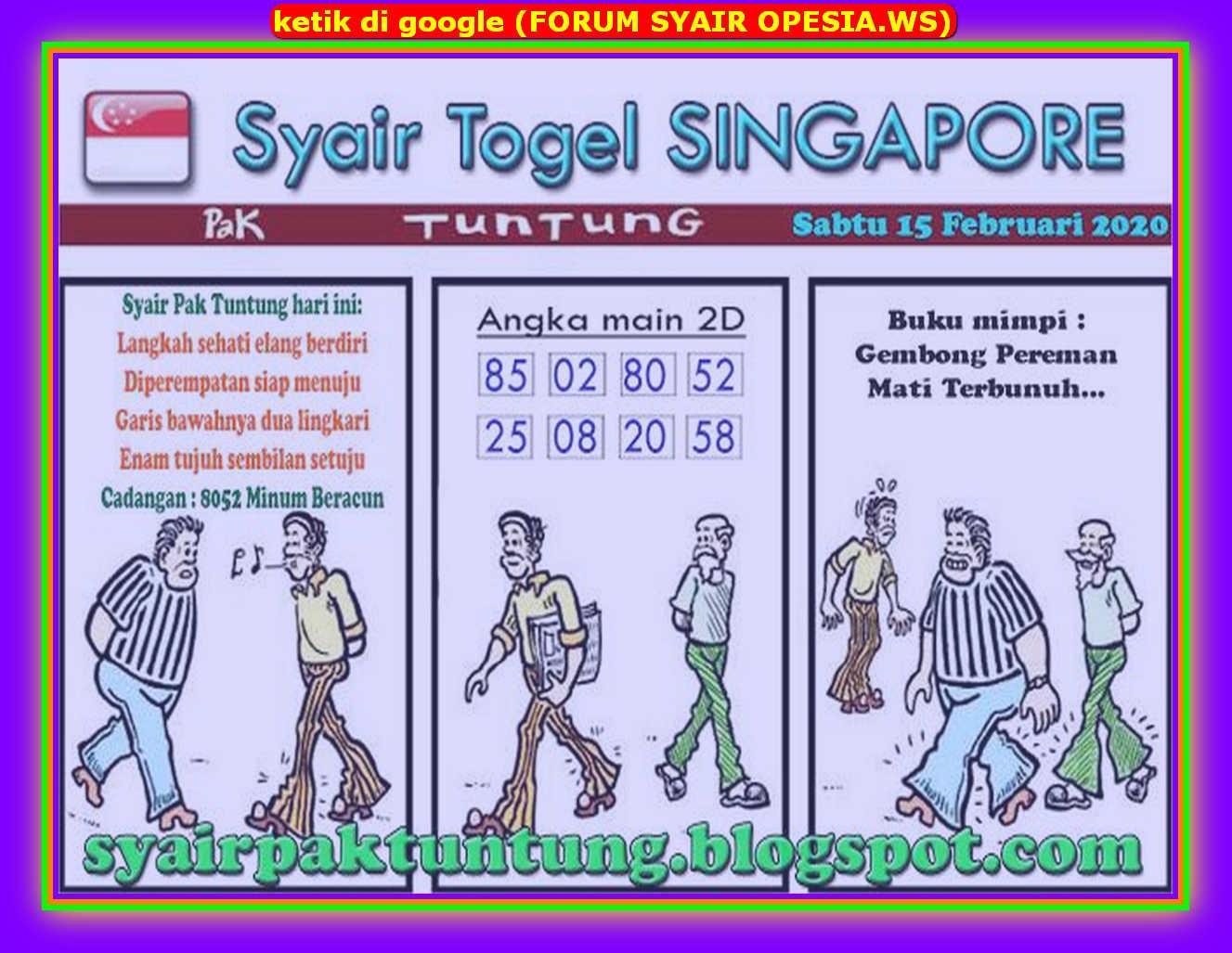 Kode syair Singapore Sabtu 15 Februari 2020 128