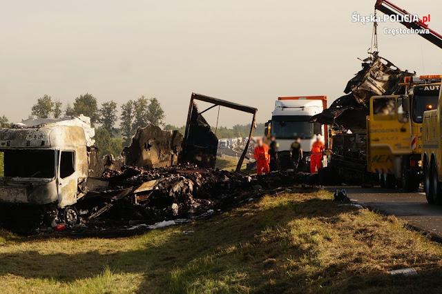 Groźna kolizja na DK1. Spłonęły dwie ciężarówki