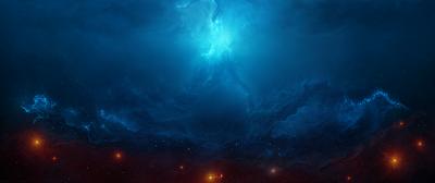 Impresionante paisaje espacial azul