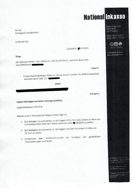 Scan: Zahlungsaufforderung / National Inkasso für Ephodos GmbH / Seite 02 / Jan 2020