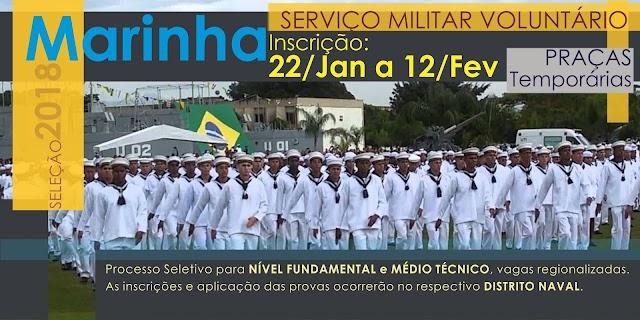 Marinha abre inscrições para praças temporários