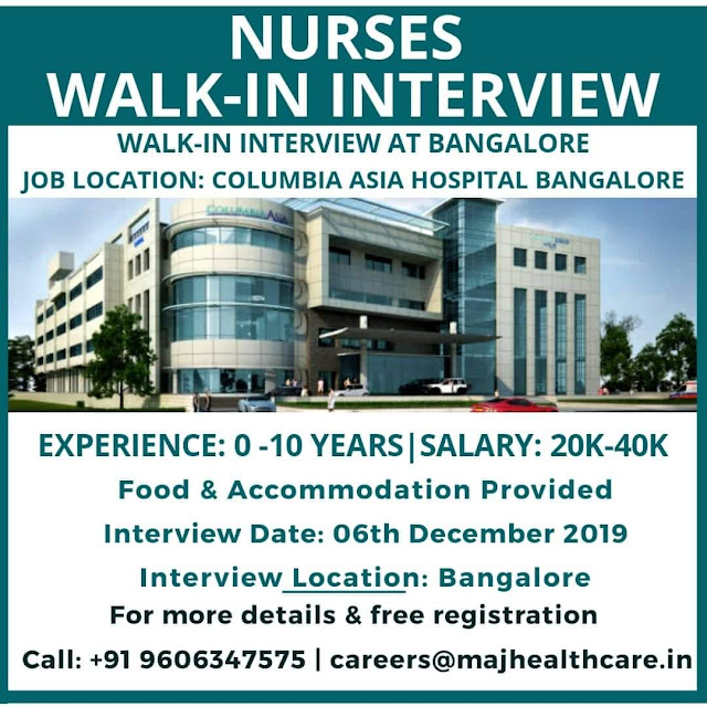 NURSES WALK IN INTERVIEW TO COLUMBIA ASIA HOSPITAL, BANGALORE