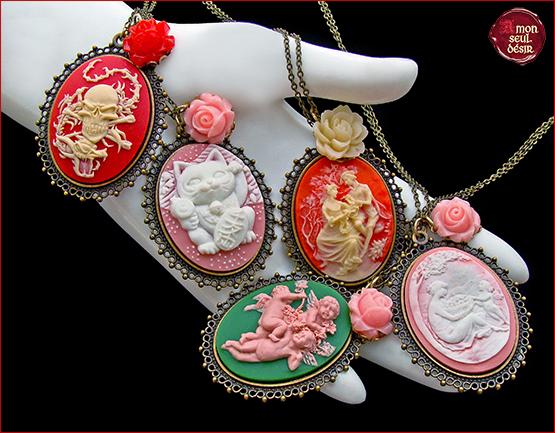 collier camée retro vintage victorien romantique ange chat