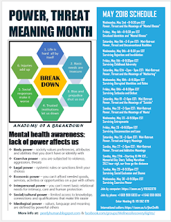 "A Flyer with a Schedule of Events is attached.  It reads:   POWER, THREAT MEANING MONTH     ANATOMY OF A BREAKDOWN (graphic)  1. Life is hard all by it self 2. Basic needs are insecure 3. Bias and prejudice shut us out 4. Trusted institutions let us down 5. Social responses make it worse 6. Injuries add up 7. BREAK DOWN   MENTAL HEALTH AWARENESS:  LACK OF POWER AFFECTS US   Body power – society values preferences, attributes and abilities that you don't have or identify with  Coercive power – you are subjected to violence, aggression, threats  Legal power – systemic rules or sanctions limit your choices  Economic power – you can't afford needed goods, services, activities or opportunities on a par with others  Interpersonal power – you can't meet basic relational needs for intimacy, care and human protection  Social/cultural power – limited access to knowledge, connections and qualifications that make life easier  Ideological power – values, language and meaning  are defined by powerful others   MAY 2018 SCHEDULE   Wednesday, May 2nd ~8-9:30 pm EST                                     Power, Threat and the Meaning of ""Mental Illness""  Friday,  May 4th ~8-9:30 pm EST                                         Devalued Identities and ""Mental Illness""  Saturday, May 5th ~2-5 pm EST:  Mini-Retreat                   Power, Threat and Unconventional Realities  Wednesday, May 9th ~8-9:30 pm EST                                                         Surviving Rejection and Invalidation  Friday, May 11th ~8-9:30pm EST                                      Surviving Childhood Adversity  Saturday, May 12th ~2pm - 5pm EST:  Mini-Retreat                            Power, Threat and the Meanings of ""Mothering""  Wednesday, May 16th ~8-9:30pm EST                                          Surviving Disrupted Identities and Roles  Friday, May 18th ~8-9:30pm EST                                 Surviving Setbacks and Defeat  Saturday, May 19 ~2-5pm EST:  Mini Retreat                                Power, Threat and the Meanings of ""Suicide""  Sunday, May 20 ~2-5pm EST:  Mini-Retreat                   Power, Threat and the Meanings of 'Mania'  Wednesday, May 23 ~8-9:30pm EST                                          Surviving Entrapments  Friday, May 25 ~8-9:30pm EST                                            Surviving Disconnection and Loss  Saturday, May 26 ~2-5pm EST:  Mini-Retreat                              Power, Threat and Angry Meanings  Sunday, May 27 ~2-5pm EST:  Mini-Retreat                   Power, Threat and Addictive Meanings  Sunday, May 27th ~Starting 10 PM EST                                                              Memorial Day Story Telling Marathon                                                     26.2 hour vigil, our lives go the distance                                                                       Tueday, May 29 ~8-9:30pm EST                                               Surviving Social Exclusion and Shame   Wednesday, May 30 ~8-9:30pm EST                                             Surviving Coercive Power  To Join Us:   Join by computer: https://zoom.us/j/119362879 Join by phone: +1 669 900 6833 or +1 646 558 8656 Enter Meeting ID: 119 362 879 International callers: https://zoom.us/u/jkwt3wHh     More info at:  peerlyhuman.blogspot.com & facebook.com/groups/WellnessRecoveryRights/"